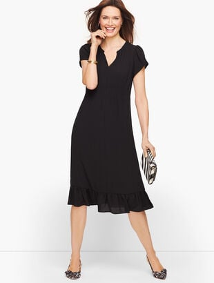 Flounce Hem  Dress - Solid