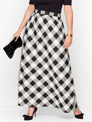 Buffalo Check Pleated Maxi Skirt