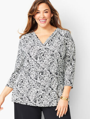 Plus Size Faux-Wrap Top - Paisley