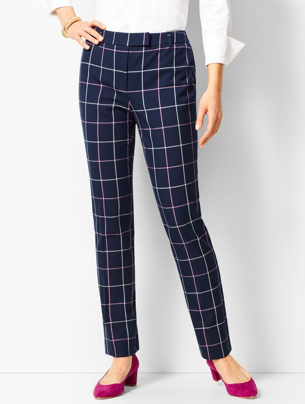 Bi-Stretch High Waist Straight Leg - Plaid