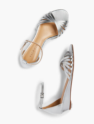Capri Twist-Strap Mini-Wedge Sandals - Metallic