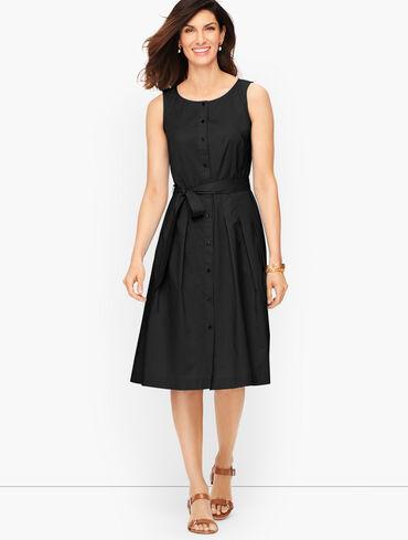Silky Simple Poplin Fit & Flare Dress