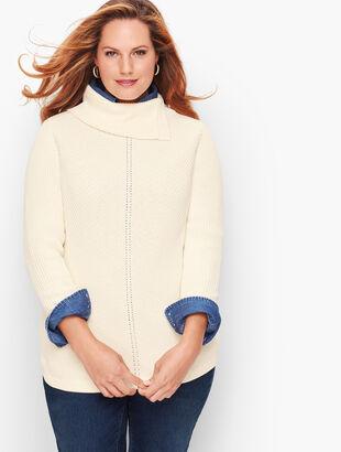 Chevron Stitch Split Neck Sweater