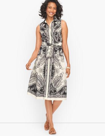 Sleeveless Cotton Shirt Dress - Precious Paisley