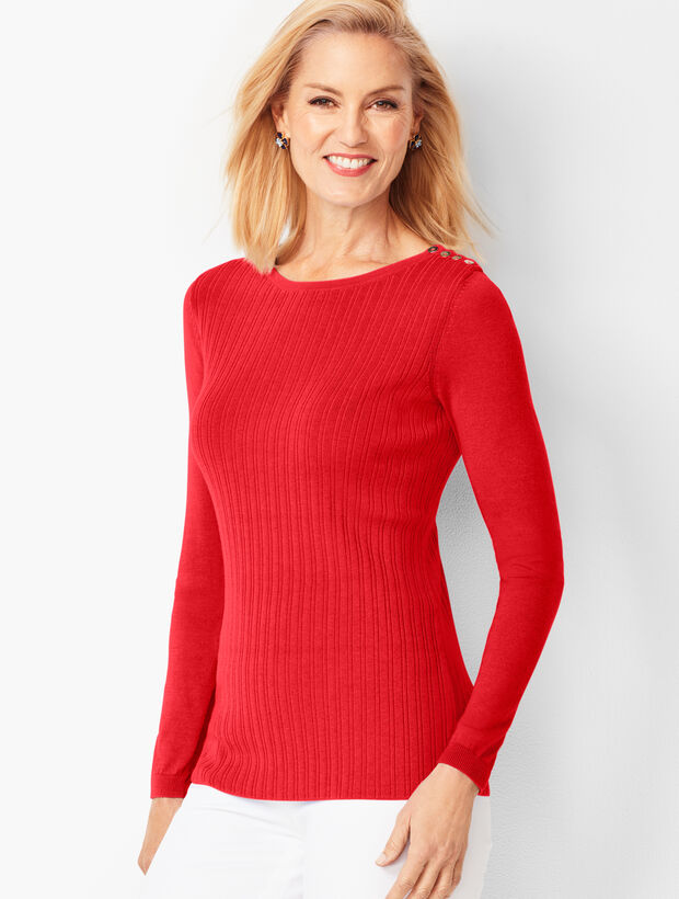Button-Shoulder Crewneck Sweater