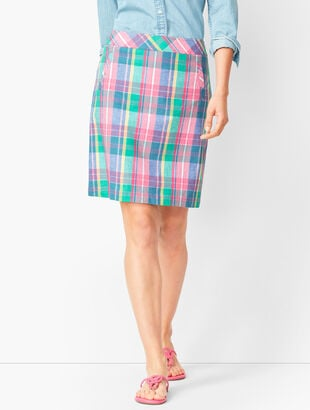 Madras Plaid Linen-Blend Skirt