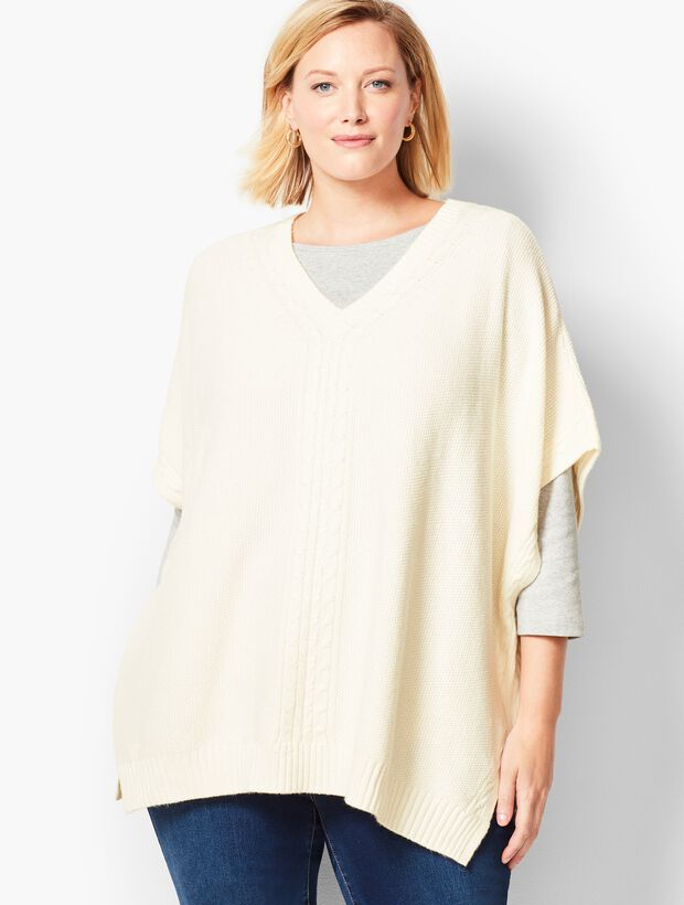 Plus Size V-Neck Seed-Stitched Poncho