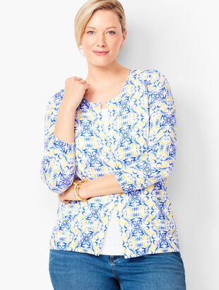 Charming Cardigan - Flower & Lemon Print