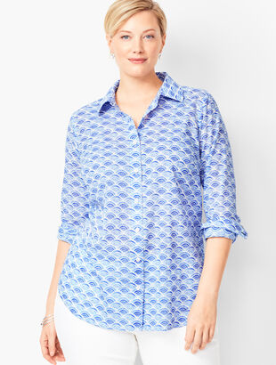 Classic Cotton Shirt - Wave Print