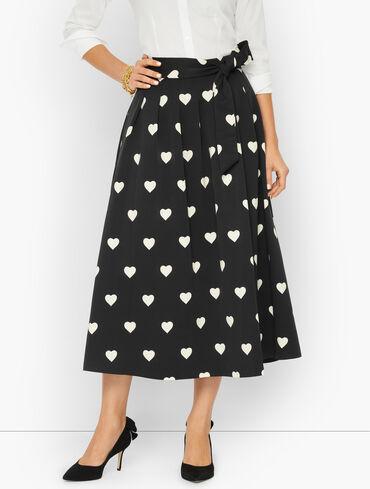 Tie Waist Faille Maxi Skirt - Heart Print