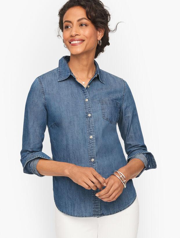 Striated Denim Button Front Shirt