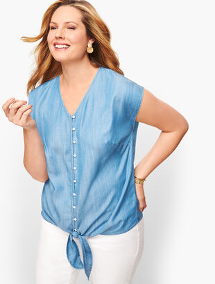 Denim Tie Hem Top