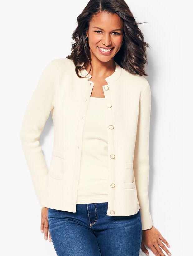 Banded Collar Sweater Jacket