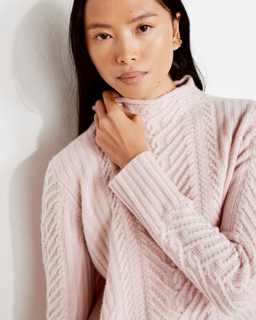 Pure Cashmere Cable Knit Roll Neck Sweater