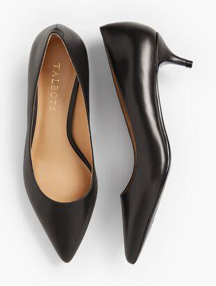 Sylvie Kitten-Heel Pumps - Leather