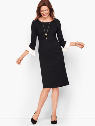 Flounce Sleeve Ponte Sheath Dress - Contrast Sleeve