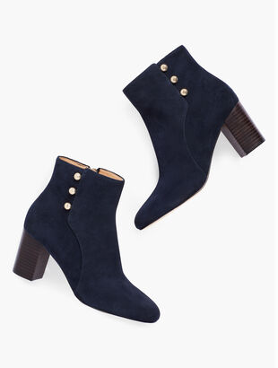 Lilia Side-Button Booties - Suede