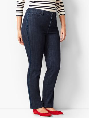 High-Rise Straight-Leg Jean - Beaded Tuxedo Stripe