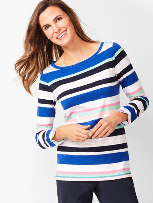Three-Quarter Sleeve Tees - Multi- Color Stripe