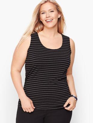 Pima Cotton Blend Tank - Shimmer Stripe