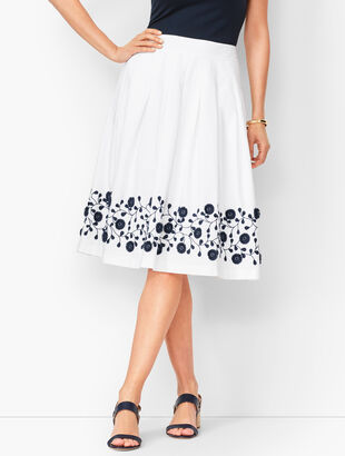 Pleated Floral-Border Skirt