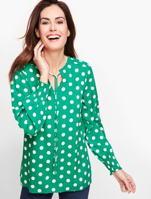 Tie Neck Smocked Top - Dot
