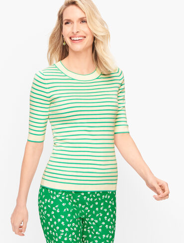 Cotton Blend Sweater - Mini Stripe