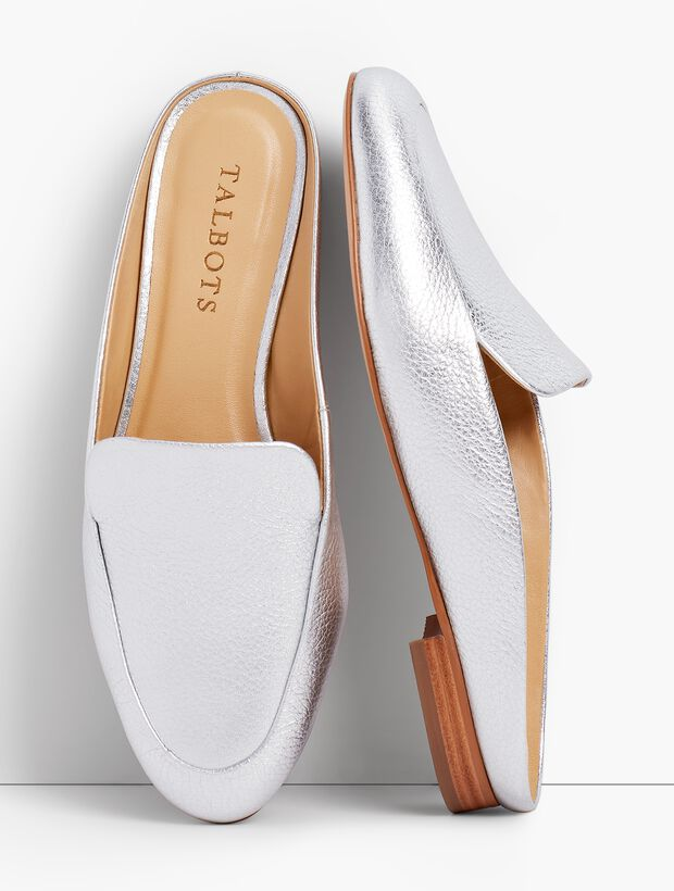 Frannie Metallic Leather Mules