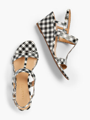 Royce T-Strap Wedges - Gingham