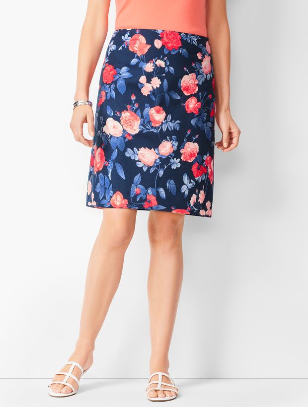 Floral Canvas A-Line Skirt