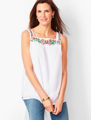 Embroidered Gauze Tank