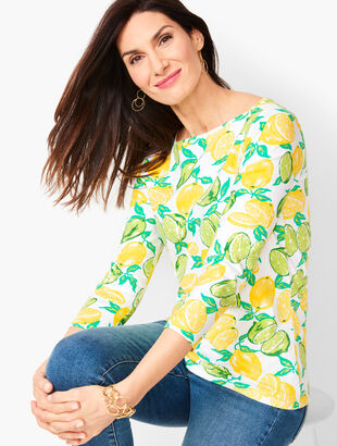 Bateau-Neck Tee - Lemon & Lime