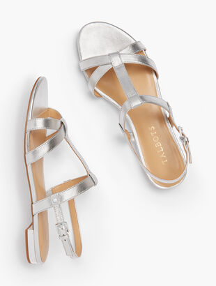 Keri T-Strap Sandals - Metallic