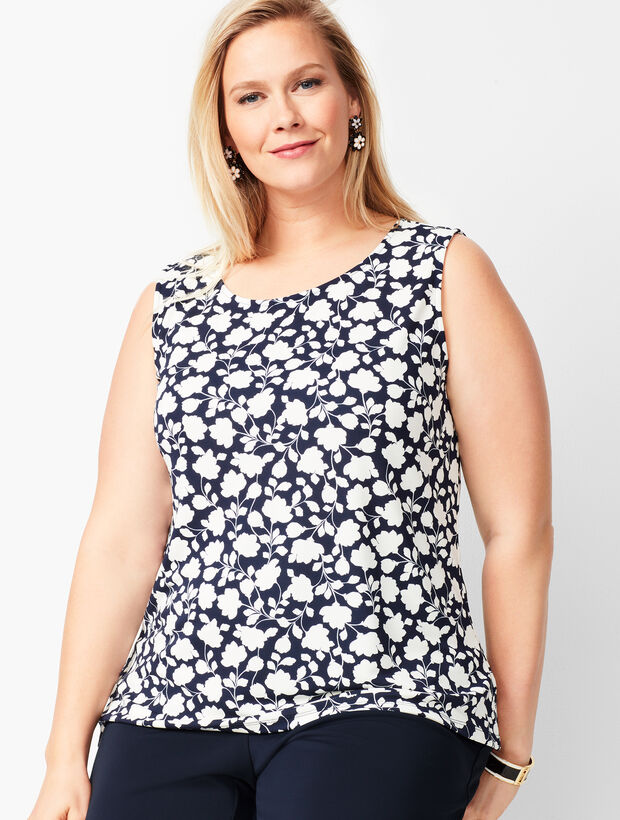 Plus Size Knit Jersey Shell - Crewneck - Floral