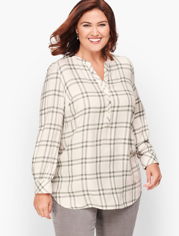 Banded Collar Popover - Ivory Plaid