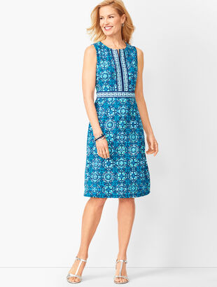 Tile Print Jersey Dress