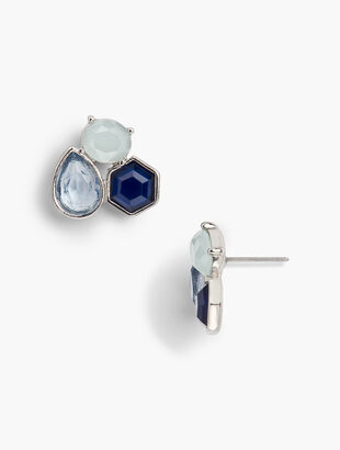 Blue Stone Statement Earrings