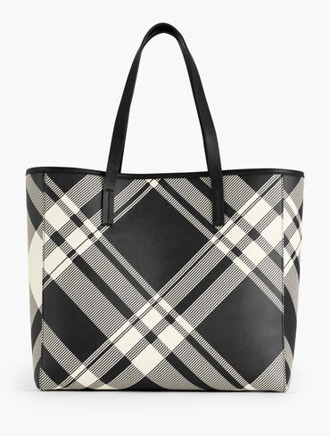 Oversized Printed Leather Tote - Plaid