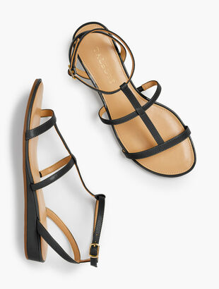 Daisy Gladiator Micro-Wedge Sandals - Nappa Leather