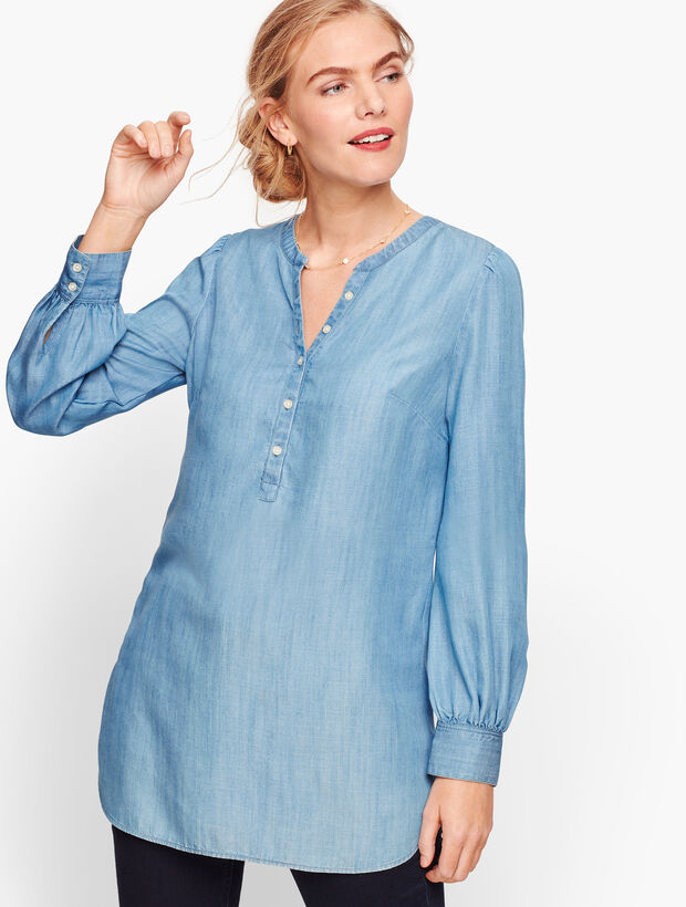 Banded Collar Popover - Denim