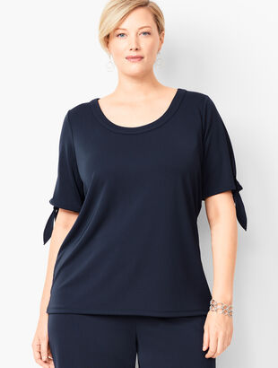 Plus Size Tie-Sleeve Knit Jersey Top