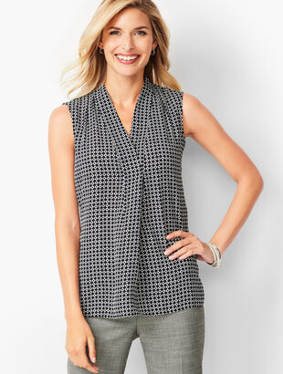 Geo-Print Front-Pleat Shirt