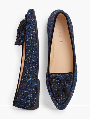 Francesca Tie Tassel Driving Moccasins - Sequin Tweed