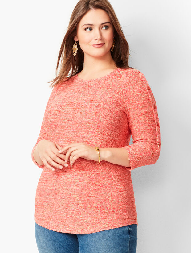 Button-Sleeve Sweater - Marled
