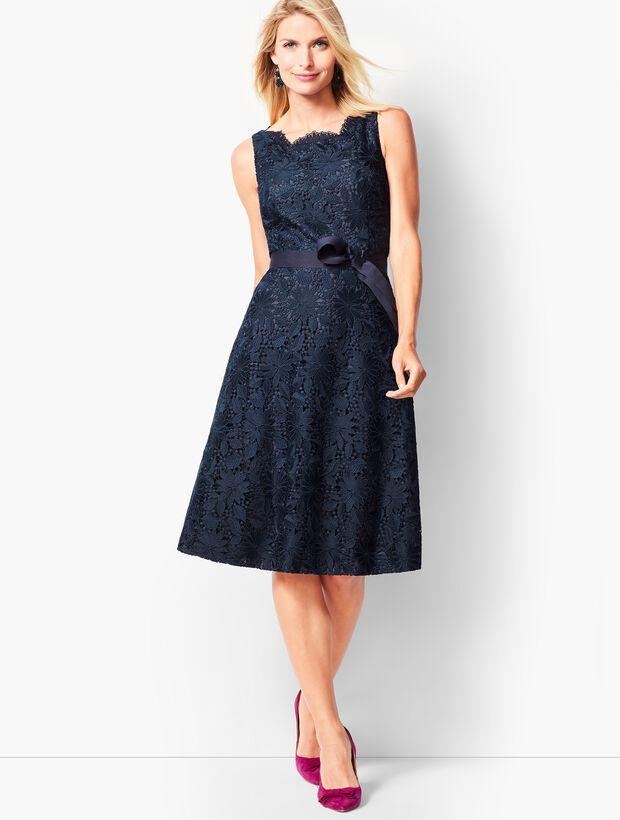 Scallop-Edge Fit & Flare Dress