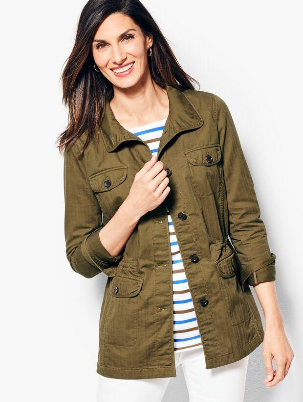 Twill Herringbone Safari Jacket