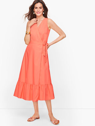 V-Neck Poplin Wrap Dress