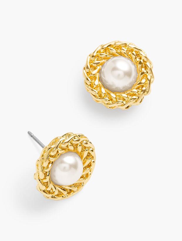 Gold Nest Pearl Earrings