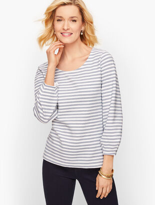 Textured Puff Sleeve Tee - Stripe