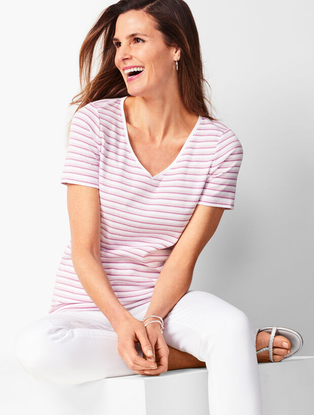Cotton V-Neck Tee - Stripe